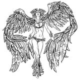 Winged beautiful girl vector illustration
