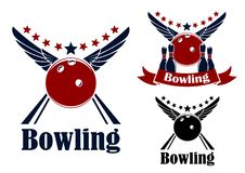 Winged bowling ball and ninepins. In red and blue colors with decorative elements for sports logo or emblem design Royalty Free Stock Image