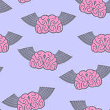 Winged brain seamless pattern. Brain with wings Symbol idea. Bra Stock Photography