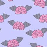Winged brain seamless pattern. Brain with wings Symbol idea. Bra Stock Photography