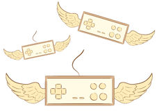 Winged brown gamepads Royalty Free Stock Photos