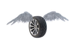 Winged car wheel Stock Photo