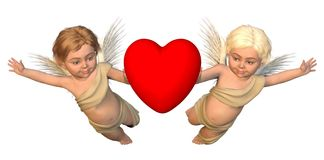 Winged Cherubs with Red Heart Stock Photography