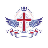 Winged Christian Cross emblem composed with royal crown and luxu Stock Image