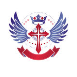 Winged Christian Cross emblem composed with royal crown and luxu Stock Photo