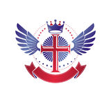 Winged Christian Cross emblem composed with royal crown and luxu Royalty Free Stock Photo