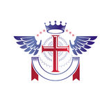 Winged Christian Cross emblem composed with royal crown and luxu Royalty Free Stock Images