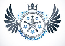 Winged classy emblem, vector heraldic Coat of Arms composed with. Imperial crown and pentagonal stars Royalty Free Stock Images