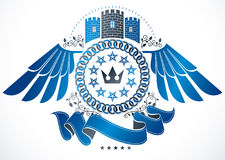 Winged classy emblem, vector heraldic Coat of Arms composed with. Medieval castle, imperial crown and pentagonal stars Stock Photos