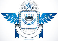 Winged classy emblem, vector heraldic Coat of Arms created using. Royal crown and pentagonal stars Stock Photos