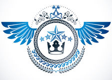 Winged classy emblem, vector heraldic Coat of Arms created using. Security keys, royal crown and stars Stock Photography