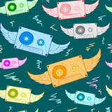 Winged color audio cassettes Royalty Free Stock Photo