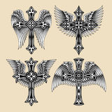 Winged Cross Set. Fully editable vector illustration of winged cross set, image suitable for design element, t-shirt graphic, tattoo, or crest Stock Photography