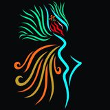 Winged dancing beautiful princess resembling a magical bird.  stock illustration
