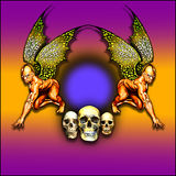 Winged Demon Frame. An illustration of demons & skulls with wings perfect for Halloween stock illustration