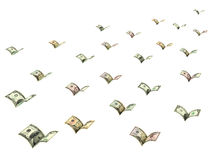 Winged dollar banknotes are flying Royalty Free Stock Photos
