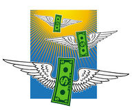 Winged dollar banknotes Royalty Free Stock Image