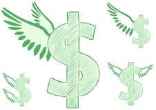 Winged dollar Stock Photo