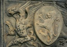 Winged dragon relief Siena Stock Image