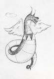 Winged dragon in sky by black pencil Royalty Free Stock Image