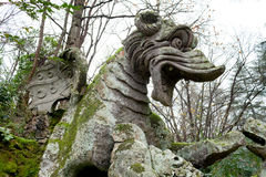Winged Dragon Statue Detail, Bomarzo, Italy Stock Photos