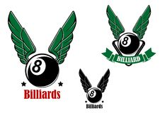 Winged eight billiard or pool ball Royalty Free Stock Photo