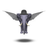 Winged Elephant in bowler hat Stock Images