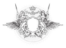 Winged emblem Royalty Free Stock Photography