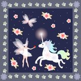 Winged Fairy with red apple and cheerful unicorn on floral and polka dot background. Stock Photos