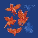 Winged fantasy forest animals isolated on blue background. Vector collection drawn with rough brush in contrast colors vector illustration