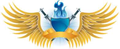Winged Fire Crest. 3D golden wing, flaming blue shield, sword and ribbon icon Royalty Free Stock Photography