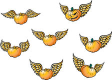 Winged flying pumpkins. With different wing positions royalty free illustration