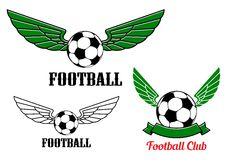 Winged football or soccer ball emblem Royalty Free Stock Photo