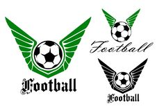 Winged football or soccer emblem Royalty Free Stock Photos