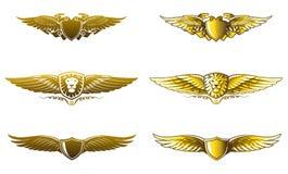 Winged golden badges award set Vector Illustration