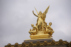 Winged golden statues Royalty Free Stock Image