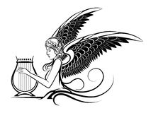Winged Greek Muse. Illustration of ancient winged Muse playing on a harp. Isolated on white background Stock Photos