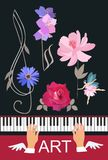 Winged hands of musician playing on concert black piano, small young fairy dancing with pink flower, floral treble clef. Chord in the form of bells vector illustration