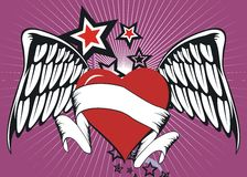 Winged heart. Background with some stars stock illustration