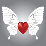 Winged heart. Valentine background of winged heart,  illustration Stock Photo