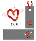 Winged heart. Valentine's Day gift tags Royalty Free Stock Photos