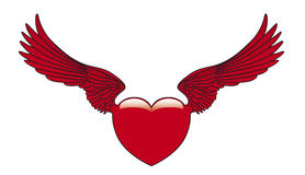 Winged heart. A heart with red wings Stock Illustration
