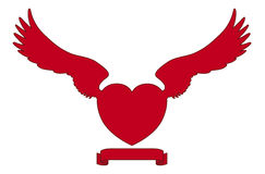 Winged heart. Silhouette of winged red heart Stock Illustration
