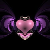 Winged heart. Abstract fractal heart with wings Royalty Free Stock Images