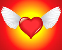 Winged heart. At sun hot Stock Illustration