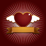 Winged heart with banner Stock Image