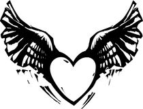 Winged Heart Black White Royalty Free Stock Image