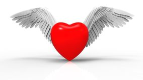 Winged heart  concept. 3D render image representing an angel winged heart Royalty Free Stock Photo