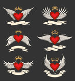 Winged Heart Emblem Set Stock Photos