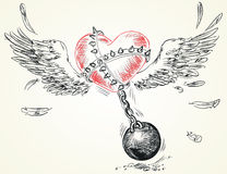 Winged heart fettered fetters. Hand-drawn. Vector illustration Royalty Free Stock Images